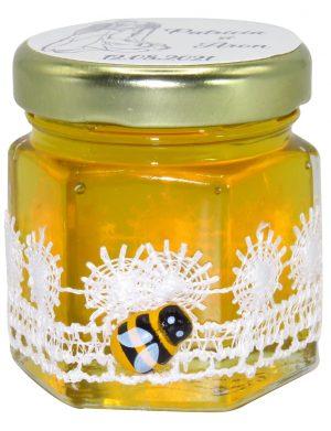 "Marturii dulci cu miere, model handmade ""Dorintaâ€� – alb, borcan 50 gr – DSBC1650"