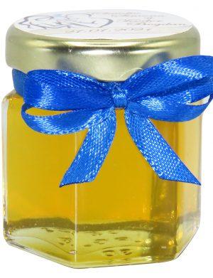 """Marturii dulci cu miere, model handmade """"Iubireâ€� – albastru, borcan 50 gr – DSBC1653"""