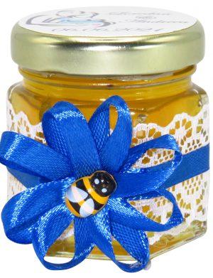 "Marturii dulci cu miere, model handmade ""Rafinamentâ€� – albastru, borcan 50 gr – DSBC1655"