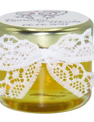 "Marturii dulci cu miere, model handmade ""Elegantaâ€� – alb, borcan 30 gr – DSBC1662"