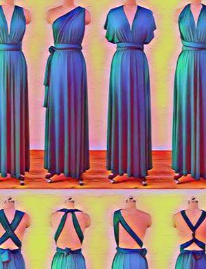 Rochie versatila lunga cu tulle pentru domnisoare de onoare, mov, ACD1626