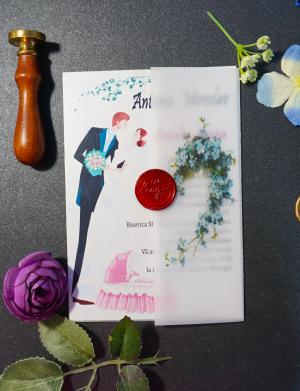 Invitatie nunta cu sigiliu OPIS059
