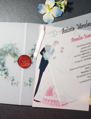 Invitatie nunta cu sigiliu OPIS060