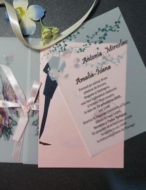 Invitatie nunta cu bentita OPIS062