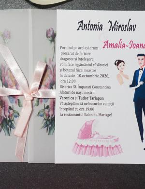 Invitatie nunta cu bentita OPIS063