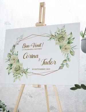 Tablou Bine Ati Venit! White Roses, dim. 70×53 cm – OPB1925
