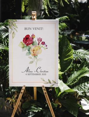 Tablou Bine Ati Venit! Roses, dim. 40×53 sau 53×40 cm – OPB1926