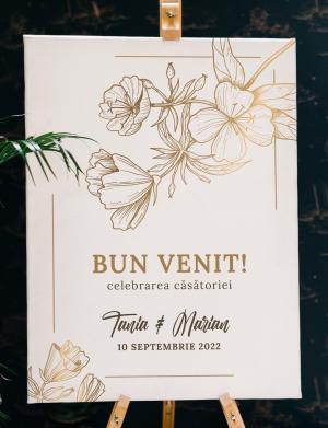 Tablou Bun Venit Golden flower, dim. 53×70 sau 70×53 cm – OPB1927