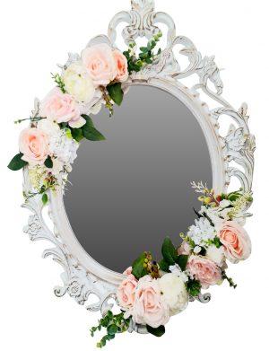 Oglinda miresei, ovala in stil victorian, lucrata cu flori de matase, 40×60 cm – FEIS1648