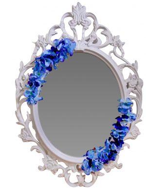 Oglinda miresei, ovala in stil victorian, lucrata cu flori de matase, 40 x 60 cm – FEIS1649