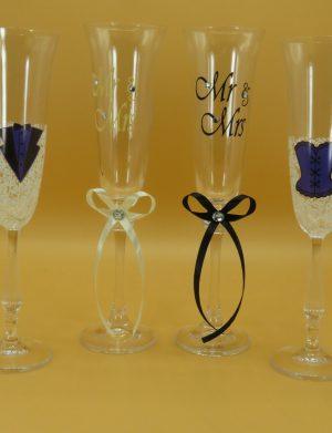 Set 4 pahare pentru miri si nasi, Auriu – ILIF1814