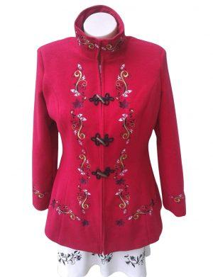 Pardesiu dama din stofa, scurt, croit in Romania, rosu, brodat – LLDJ10133