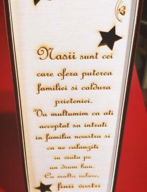 Cutie pentru sticla de vin din lemn, cadou pentru Nasi, gravata laser, (mostra), SOMIS183