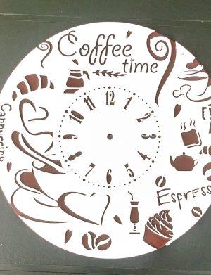 Ceas cadou Coffee Time, lemn de plop, diam.25cm, grosime 6 cm, SOMIS177