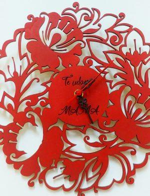 Ceas de perete in forma de floare, cadou  pentru MAMA, diametru 30 cm