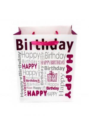 Punga Pentru Cadou Cu Happy Birthday, Roz, 14,5x15x6, ILIF1620