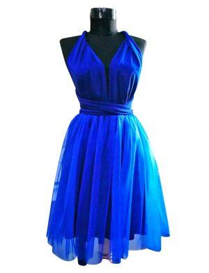 Rochie versatila cu tulle scurta, albastra, ACD156