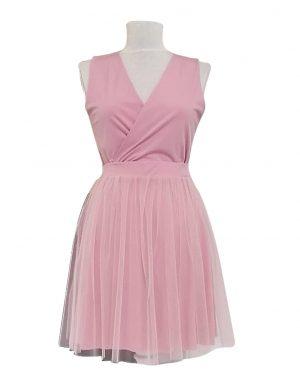 Rochie scurta, roz cu tulle, model cu spate plin, ACD176
