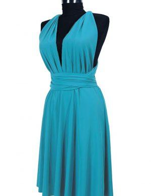 Rochie versatila scurta pentru domnisoare de onoare, turquoise, ACD213