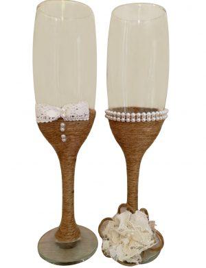 Set 2 pahare decorate pentru miri sau nasi, DSPH1652