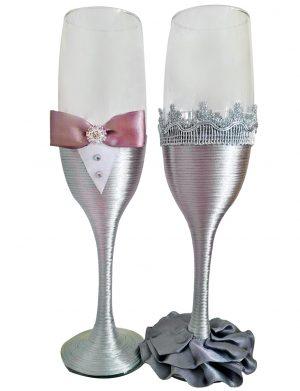 Set 2 pahare decorate pentru miri sau nasi, DSPH1643