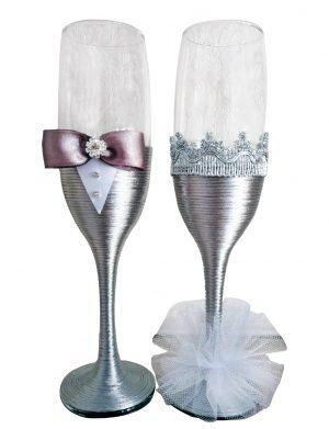Set 2 pahare decorate pentru miri sau nasi, DSPH1637