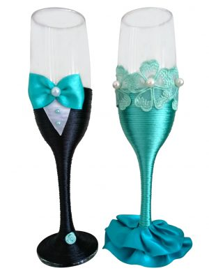 Set 2 pahare decorate pentru miri sau nasi, DSPH1636