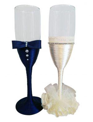 Set 2 pahare decorate pentru miri sau nasi, DSPH1649