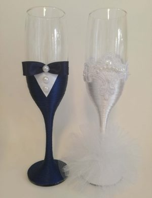 Set 2 pahare decorate pentru miri sau nasi