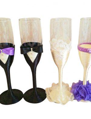 Set 4 pahare decorate pentru miri si nasi, DSPH1660