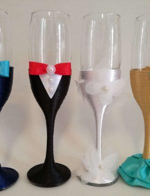 Set 4 pahare decorate pentru miri si nasi, DSPH1657