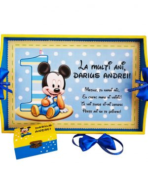Set Mot Baby Mikey, 7 piese, personalizat cu nume si data, DSPH169