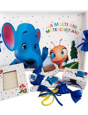 Set Mot Elefantul si Furnicuta, 7 piese, personalizat cu nume si data DSPH133