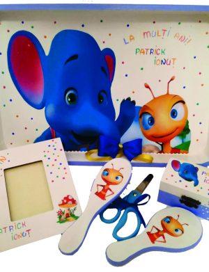 Set Mot Elefantul si Furnicuta, 7 piese, personalizat cu nume si data, DSPH1613