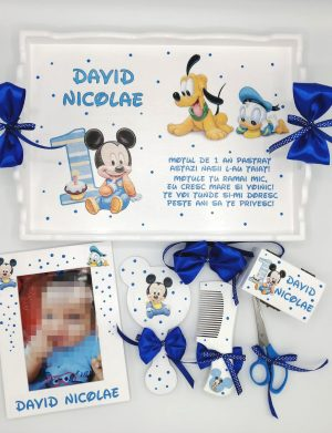 Set Mot Baby Mikey si Goofy, 7 piese, personalizat cu nume si data
