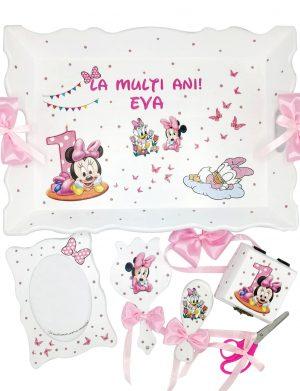 Set Tavita Mot Baby Minnie, 7 piese, personalizat cu nume si data, DSPH1620