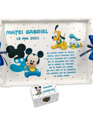 Set Tavita Mot (turta), Baby Michey si Goofy, aniversare 1 an, 2 piese, personalizat, DSPH1621
