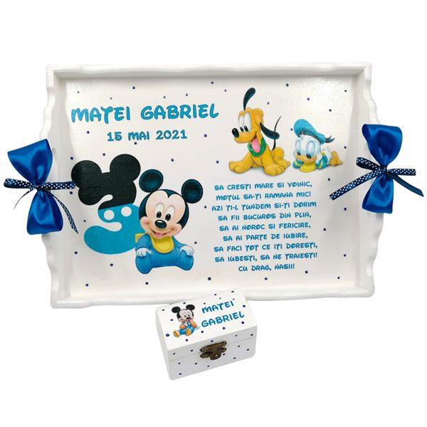 Set Tavita Mot turta Baby Michey si Goofy aniversare 1 an 2 piese personalizat DSPH1621
