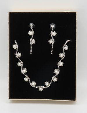 Set bijuterii mireasa, colier & cercei cu perlute si cristale – ILIF1841-1