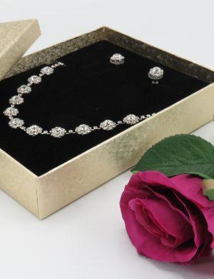 Set bijuterii mireasa, colier & cercei flori de cristal – ILIF1841-2