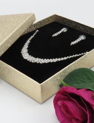 Set bijuterii mireasa, colier & cercei stelute sclipitoare – ILIF1841-3