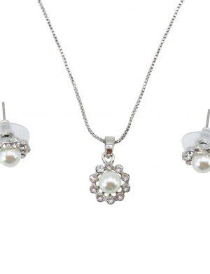 Set bijuterii mireasa, colier cu pandantiv & cercei cu perlute – ILIF1841-4