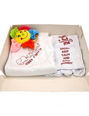 Set cadou bebelusi Floare Soarelui, 6 piese, ambalat in cutie de cadou cu fereastra de vizitare – ILIF003