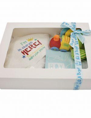 Set Cadou bebelusi I am in charge Trenulet, 6 piese, ambalat in cutie de cadou cu fereastra de vizitare – ILIF004