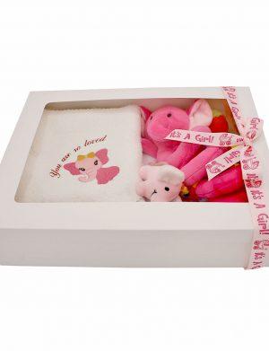 Set cadou bebelusi model Elefantel fetita, 7 piese, ambalat in cutie de cadou cu fereastra de vizitare – ILIF007