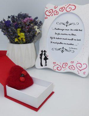 Set cadou, pentru iubita, cu rama foto si brosa cu buburuze pupacioase, realizat manual – ILIF10216