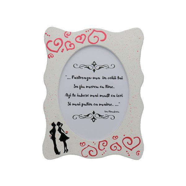 Set cadou pentru ea cu indragostiti 3 piese ghiveci cu flori de lavanda rama foto indragostiti si brosa realizate manual in Romania ILIF10104 4