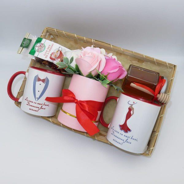 Set tavita cadou nasi 6 piese 2 cani cu mesaj aranjament trandafiri sapun ILIF10101 3