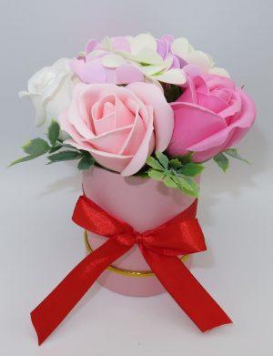 Set tavita cadou nasi, 6 piese, 2 cani cu mesaj, aranjament trandafiri sapun, ILIF1023