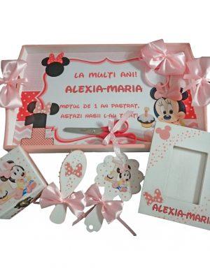 Set mot Baby Minnie Mouse, 7 piese, personalizat, din lemn, cu fundite roz, ornamente multicolore DSPH010